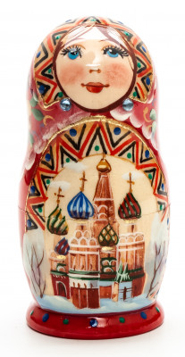 110 mm Moscow Snt Basil Cathedral hand painted on wooden Matryoshka doll 5 pcs (by A Studio)