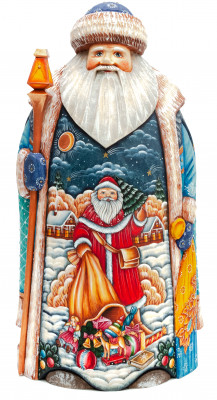 255 mm Santa Claus with hand painted Father Frost carrying Gifts Bag Wooden Carved Statue (by Sergey Christmas Workshop)