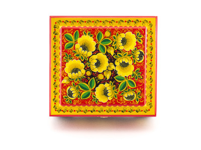 Khokhloma Painting Jewellery Wooden Box 170x170mm