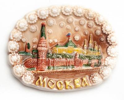 65x50 mm Moscow Kremlin and River Ceramic Fridge Magnet (by Skazka)