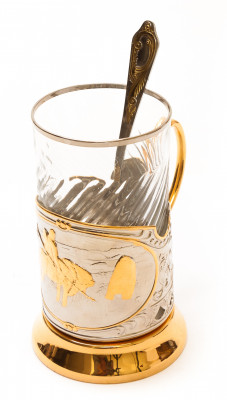Vityaz Gold Plated Brass Tea Glass Holder with Crystal Glass and Gold Plated Tea Spoon (by Kolchugino)