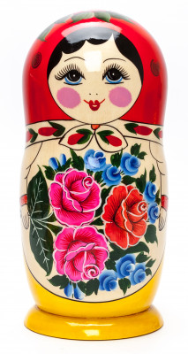 260 mm Red Head Semenovskaya handpainted wooden Matryoshka Doll 10 pcs (by Ivan Studio)