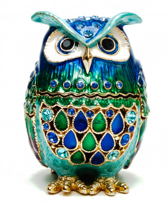 60 mm Owl with the Rhinestones Blue Jewellery Box