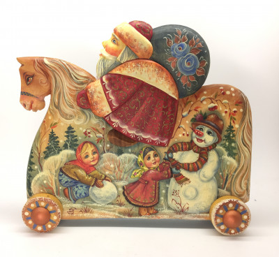 Hand Carved and Painted Santa Ride on Horse Weelchair (by Vladislav Toys)
