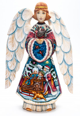 300mm Mother Angel with a Bullfinch with handpainted Santa Claus Riding the Sleighs with Children on wooden Angel (by Sergey Christmas Workshop)
