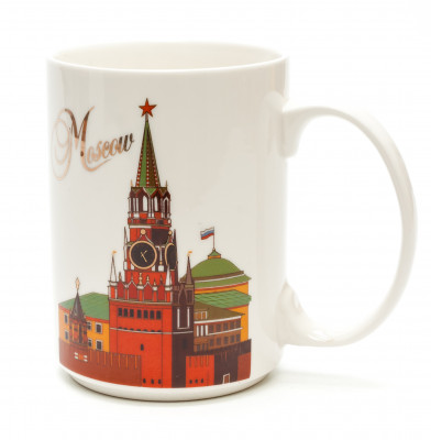 Moscow Saint Basil Cathedral Spasskaya Tower Porcelain Mug