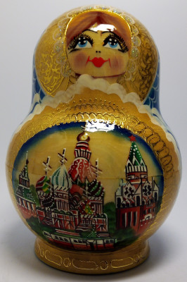 170 mm Moscow Snt Basil Cathedral and Kremlin handpainted Wooden Matryoshka Doll 10 pcs (by Valery Crafts)