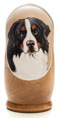 160mm Dog hand painted on wooden Matryoshka doll 5 pcs (by Alexander Famous Paintings Studio)