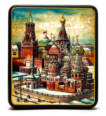 130x150mm Red  Square and Saint Basil Cathedral hand painted on pearl shell lacquered box from Fedoscino (by Tatiana Crafts)