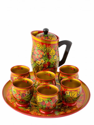 Pitcher and 6 Glasses for Kvass hand painted wooden Set (by Golden Khokhloma)
