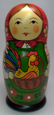 160 mm Mother with Cockerel with a Candy hand painted Traditional Russian Wooden Matryoshka doll 5 pcs (by Igor Malyutin)