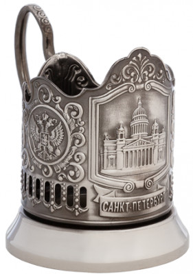 Saint Isaac's Cathedral Nickel Plated Brass Tea Glass Holder with Faceted Glass (by Kolchugino)