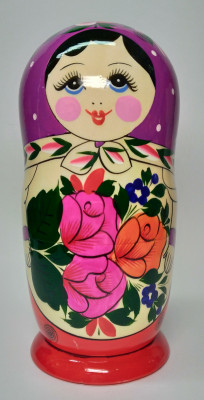 205 mm Violette Head Semenovskaya handpainted wooden Matryoshka Doll 8 pcs (by Ivan Studio)