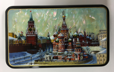 150x90 mm Moscow Snt Basil Cathedral and Red Square hand painted papier-mache lacquered Jewelry Box (by Tatiana Crafts)