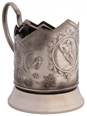 Hockey Nickel Plated Brass Tea Glass Holder with Faceted Glass (by Kolchugino)
