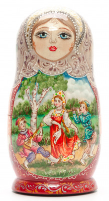 160 mm Russian Summer hand painted on Wooden Matryoshka doll 5 pcs (by Valeria Crafts)