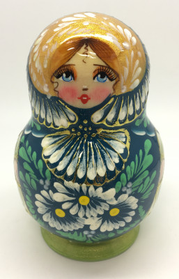 110 mm Daisies on green background handpainted wooden Russian Matryoshka doll 5 pcs round shape
