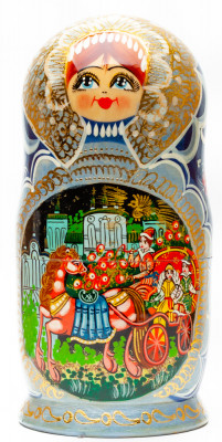 210 mm Russian Fairytale handpainted Wooden Matryoshka Doll 7 pcs (by Valery Crafts)