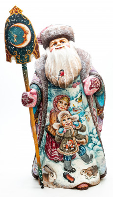 430 mm Santa with a Magic Staff and a Bear with the Bag with handpainted Children Wooden Carved Statue (by Karpova Nadezhda Studio)