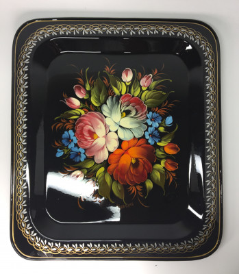 U 330 x 280 mm Zhostovo hand painted metal Tray