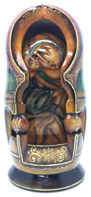 180 mm Russian Orthodox Icon hand painted and carved wooden Matryoshka doll 5 pcs (by Konstantin Studio)