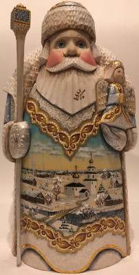 Hand Carved and Painted Santa with an Angel