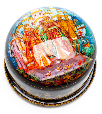 100x50mm The Tale of Tsar Saltan Hand Painted Jewellery Box (by Sadko Workshop)