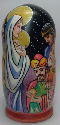 180mm The Adoration of the Magi hand painted on wooden Matryoshka doll 5 pcs (by Alexander Famous Paintings Studio)