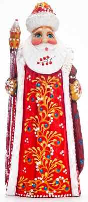 170 mm Santa with a Magic Staff and a Bag Carved Wood Hand Painted Collectible Figurine  (by Natalia Nikitina Workshop)