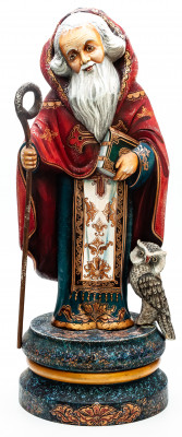 380 mm Monk with a Staff and Bible and an Owl hand painted Wooden Statue (by Karpova Nadezda)