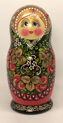 180 mm Khokhloma hand painted Amtryoshka Doll 5 pcs (by Valentina Khokhloma)