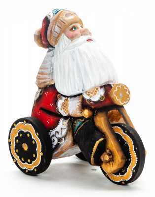 130 mm Santa Claus Riding the Bicycle handpainted Wooden Carved Statue (by Igor Carved Wooden Figures Studio)