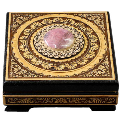 100x100 mm Siberian Patterns hand made Birchbark Jewelry Box with Rhodonite stone (by Birch Gifts)