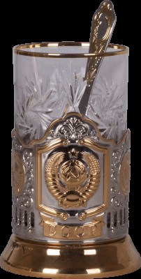 State Emblem of the USSR Gold Plated Brass Tea Glass Holder with Crystal Glass and Gold Plated Tea Spoon (by Kolchugino)