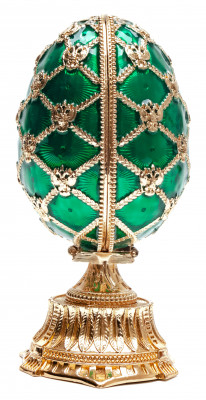 115 mm Green Easter Egg with the Crown and Clock