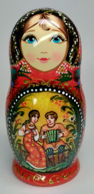 110 mm Ruslan and Lyudmila hand painted on wooden Matryoshka doll 5 pcs (by A Studio)
