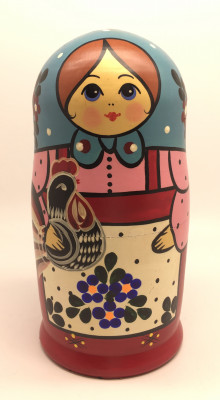 Russian Tradithional Hand Painted Matryoshka Doll 5pcs