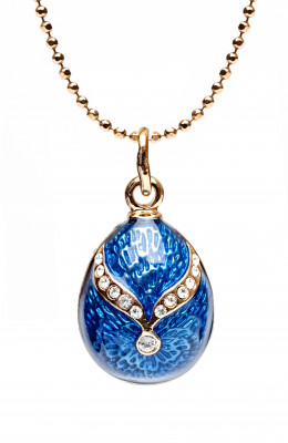 Gold Bow on Blue Egg Pendant