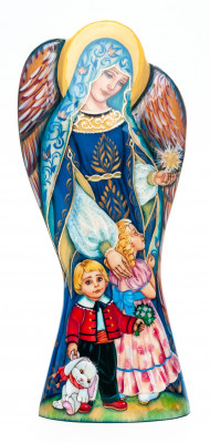 180 mm Mother Angel with Children on hand painted wooden figurine