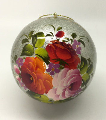 U Medium Christmas Wooden Ball Handpainted in Zhostovo Russia different color