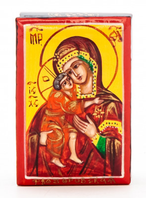 40x60mm Virgin of Vladimir hand painted lacquered box from Palekh (by Pavel Studio)