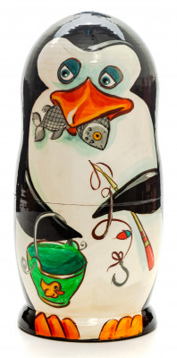 180mm Penguin hand painted Matryoshka 5pcs (by Gift Shop)