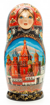 280mm Moscow Saint Basil Cathedral hand painted Matryoshka round Doll 10pcs (by A Studio)