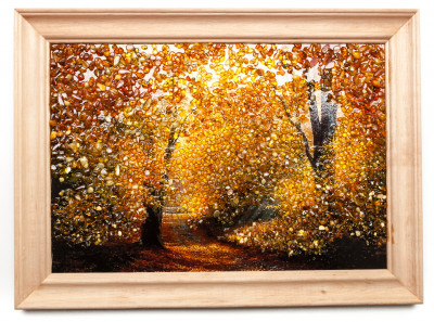 275x205 mm Autumn Landscape on red background hand made of natural Baltic Sea Amber stones (by Russian Amber)