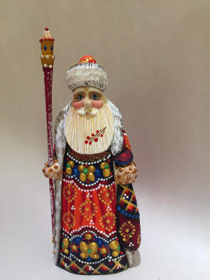 170 mm Santa Claus hand carved and painted wooden figure with a Bag of Gifts (by Natalia Workshop)