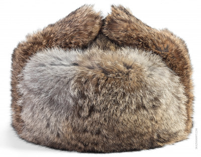 Brown Rabbit Hair Winter Ushanka Hat with Ear Flaps (by Skazka Furs)