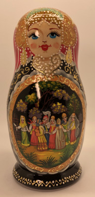 200 mm Russian Spring Round Dancing hand painted wooden Matryoshka doll 5 pcs (by GOLDEN COCKEREL)