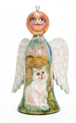 70 mm Angel with White Cat hand painted wooden Figurine