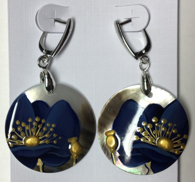 d30 mm Dark Blue Poppies hand painted on Nacre Earrings (by Tatiana Shkatulka Crafts)