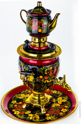 Khokhloma Hand Painted Electric Samovar Kettle with Teapot and Tray